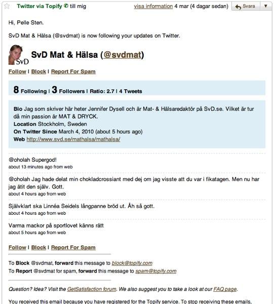 Exempel på mejl från Topify.