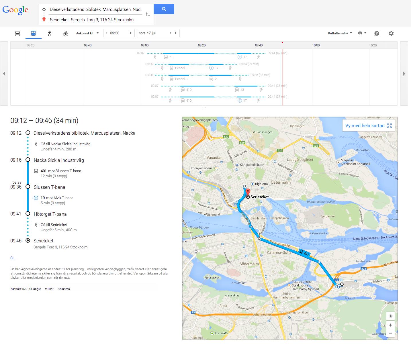 Vägbeskrivning i Google Maps