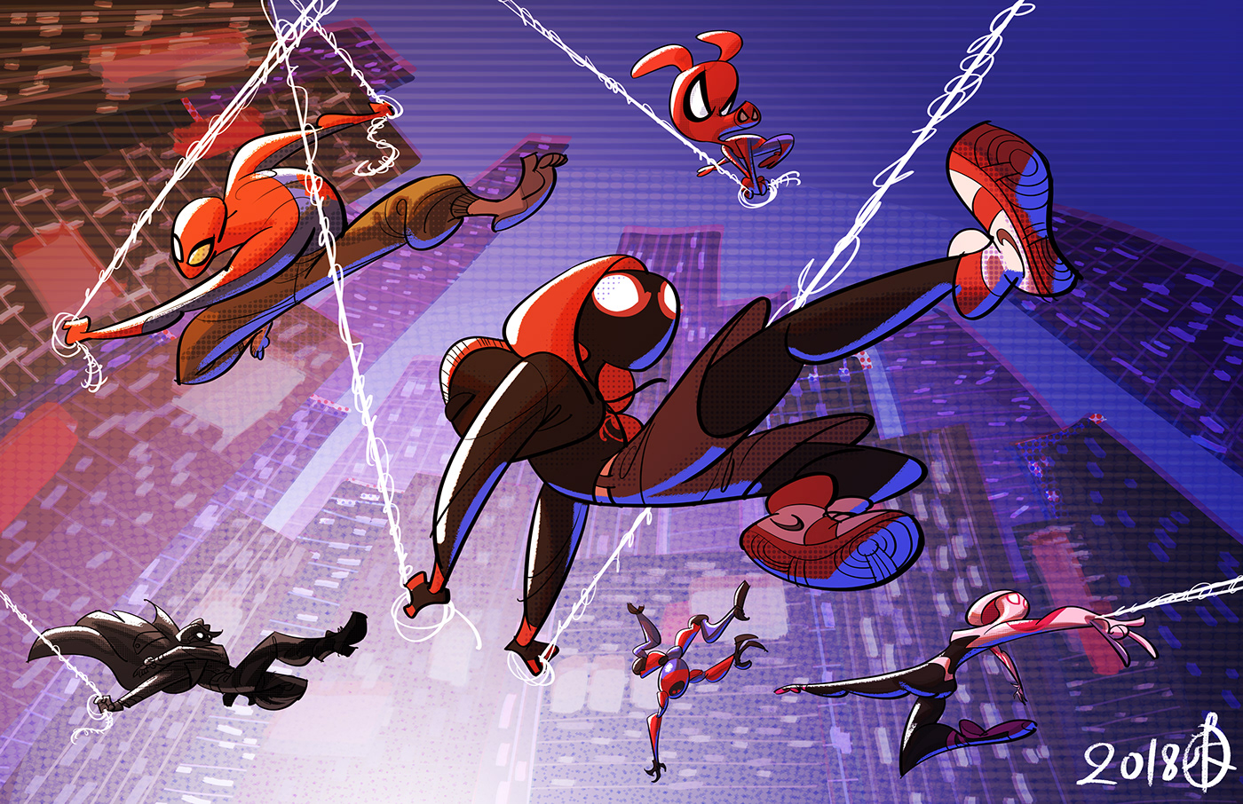 Into the Spider-verse av Huy Hoang Ha. Från behance.net/splendidriver