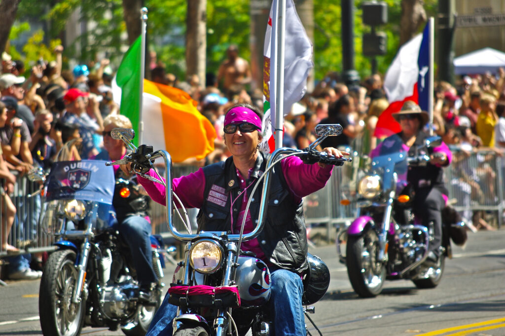 Dykes on Bikes på San Francisco Pride Parade 2009.