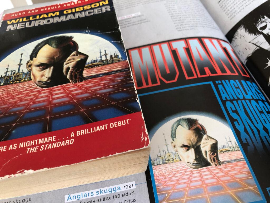 Omslagsbilden på äventyret Änglars skugga från 1991 till Mutant 2089 (ironiskt nog) är kanske mest känd för att ha använts till Graftons brittiska pocketutgåva av William Gibsons Neuromancer från 1986.