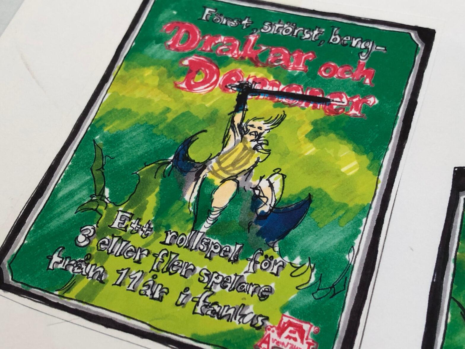 Nils Gullikssons skiss till tredje upplagan av Drakar och demoner.