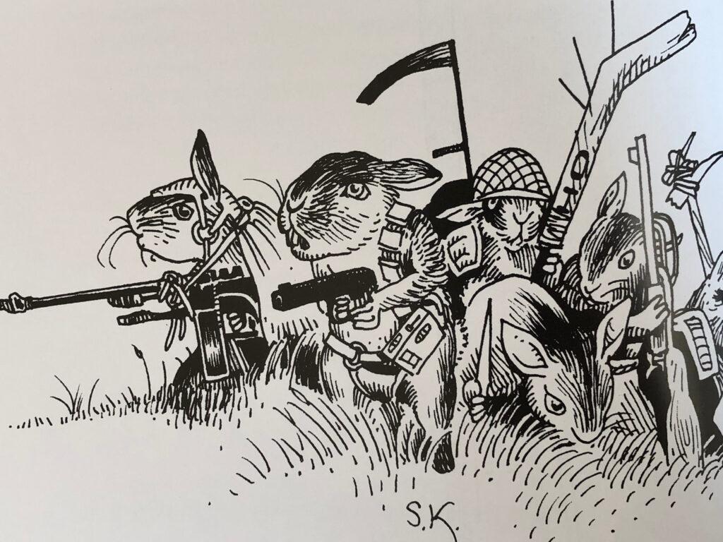 Muterade kaniner, även kända som rubbitar, tecknade av Stefan Kayat.